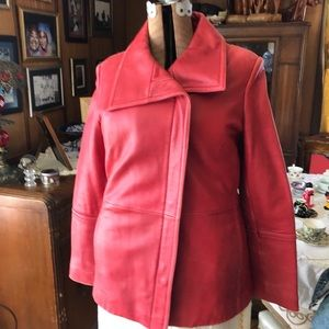 Gently used soft red leather jacket.